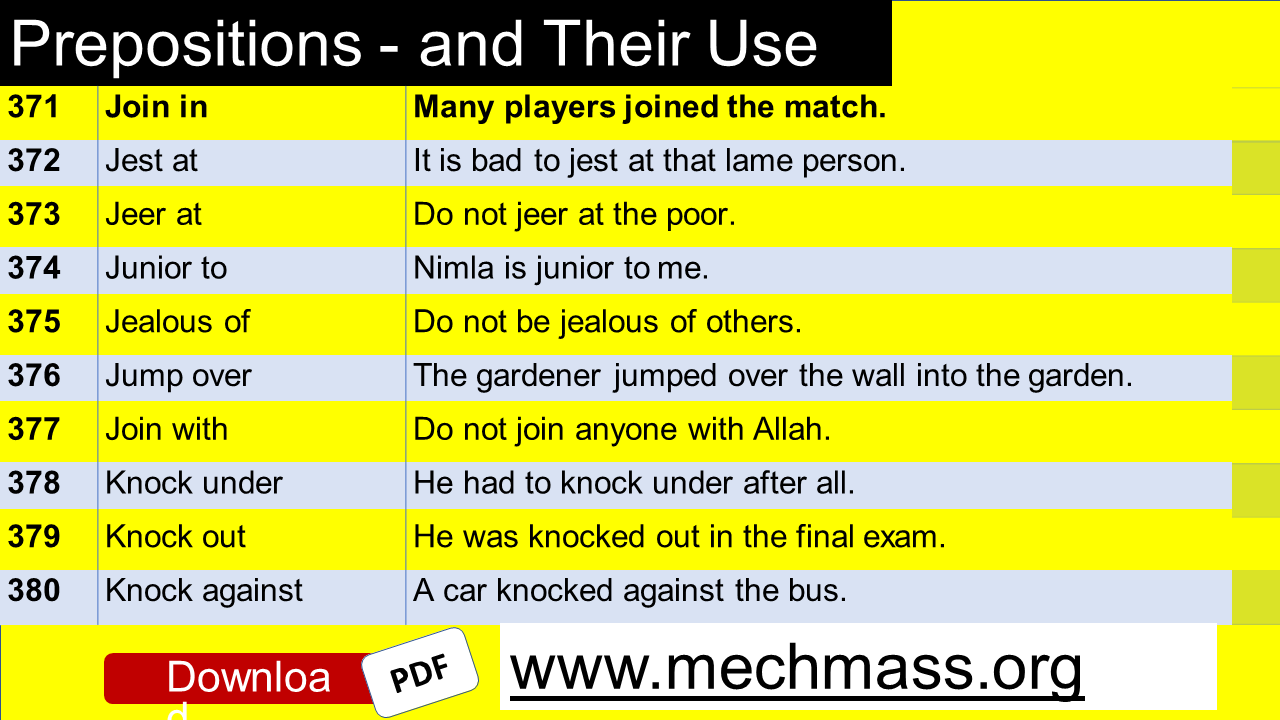 verbs and preposition examples