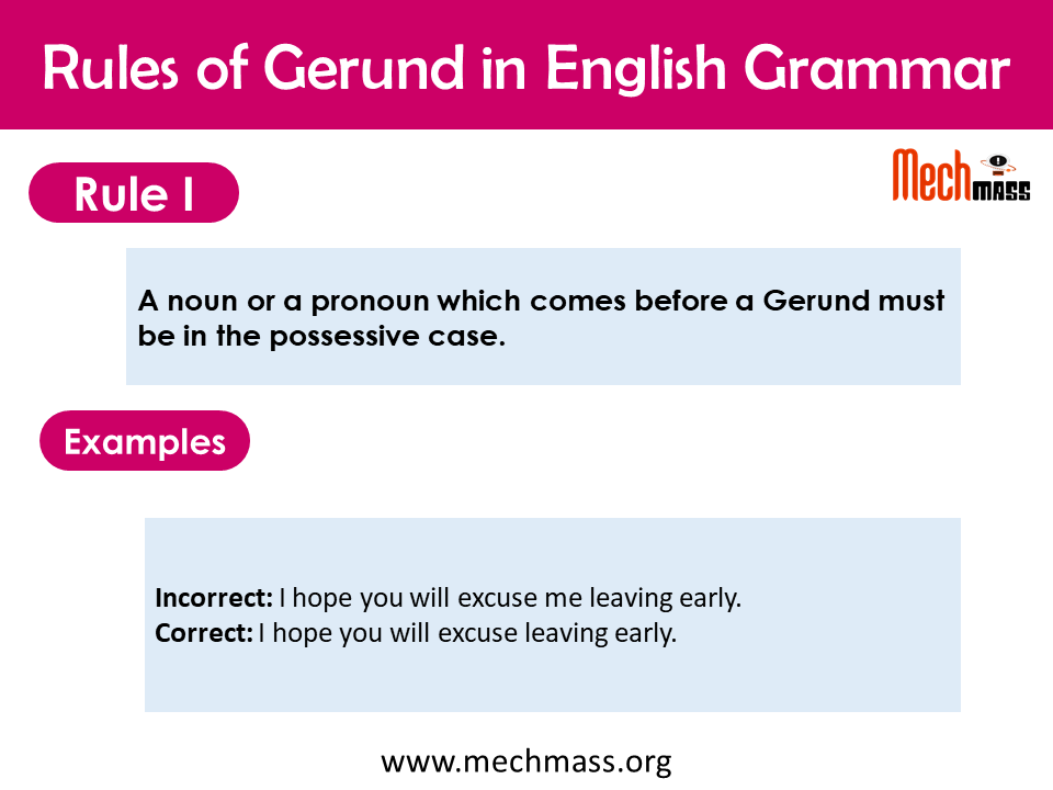 grammar rules of gerund