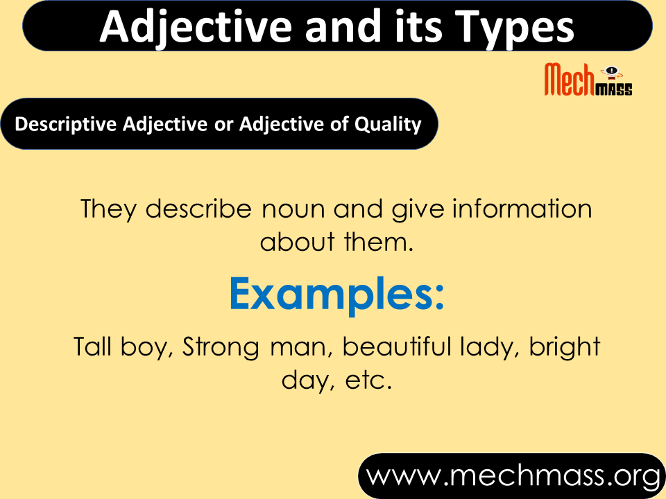 Types of Adjectives in English Grammar