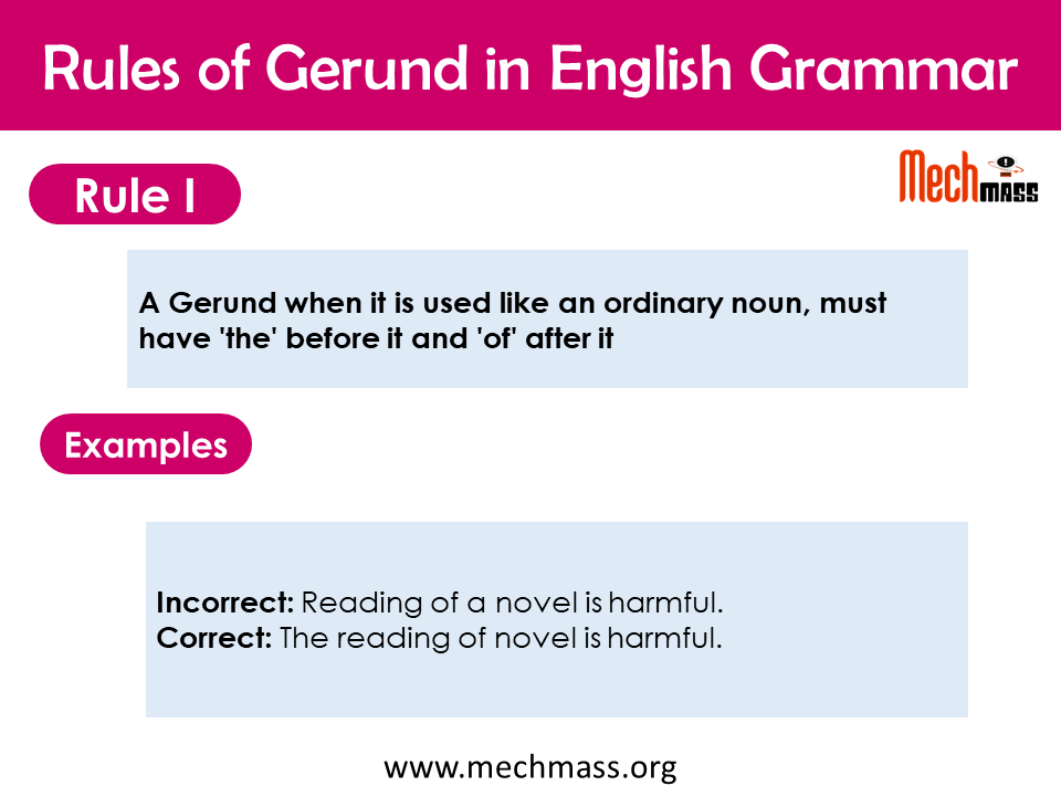 correct use of gerund in english grammar