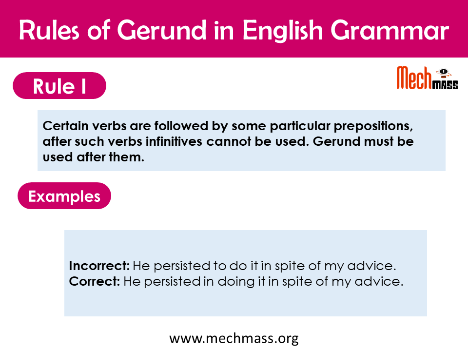 correct use of gerund