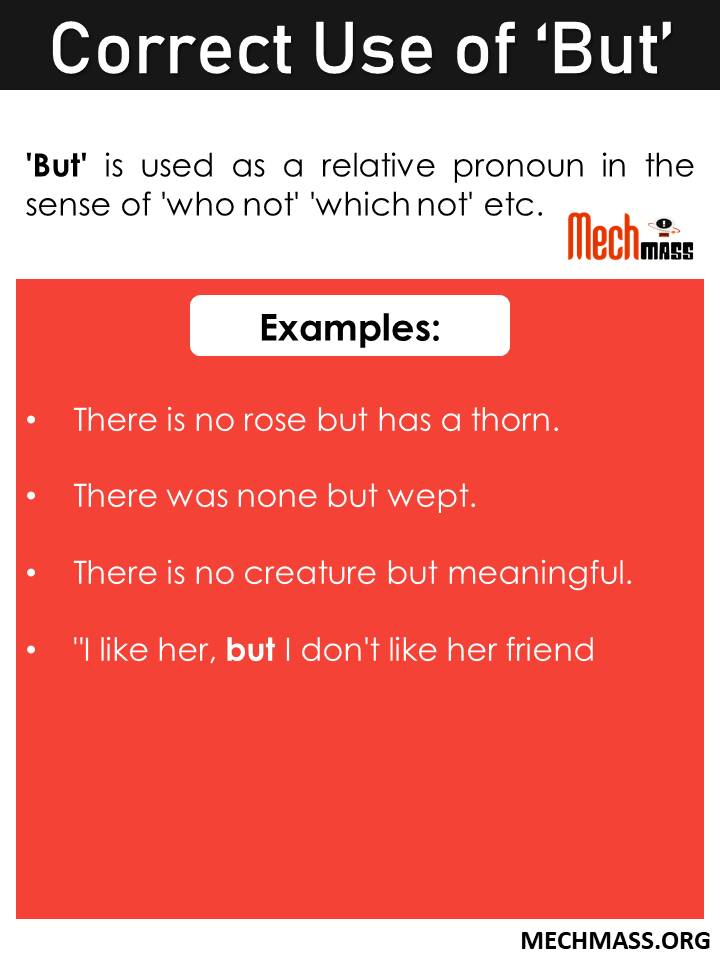 correct use of but in english