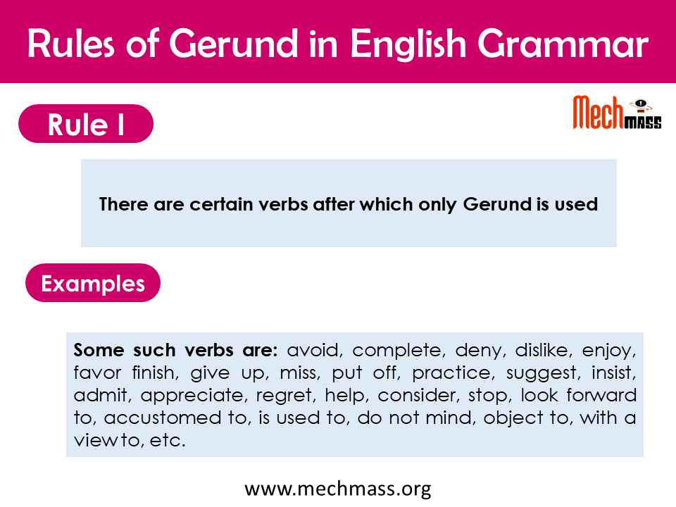 gerund rules in english grammar