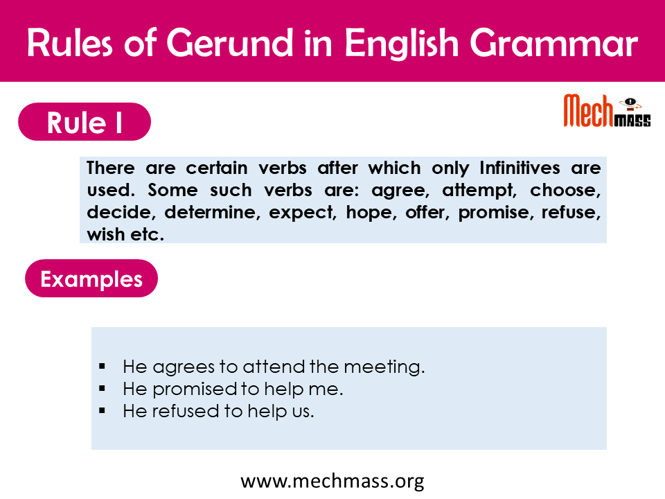 gerund rules in english