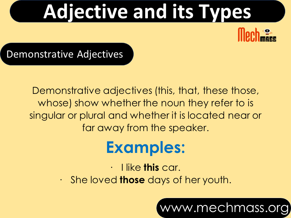 adjectives types with definition