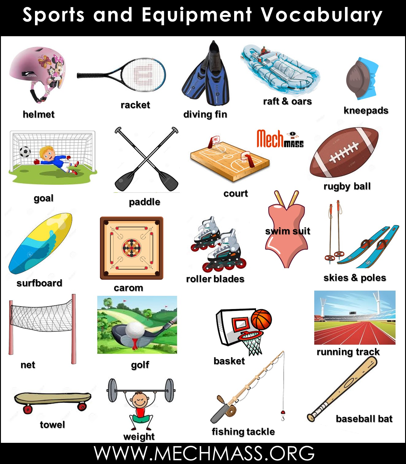 sports vocabulary words with pictures