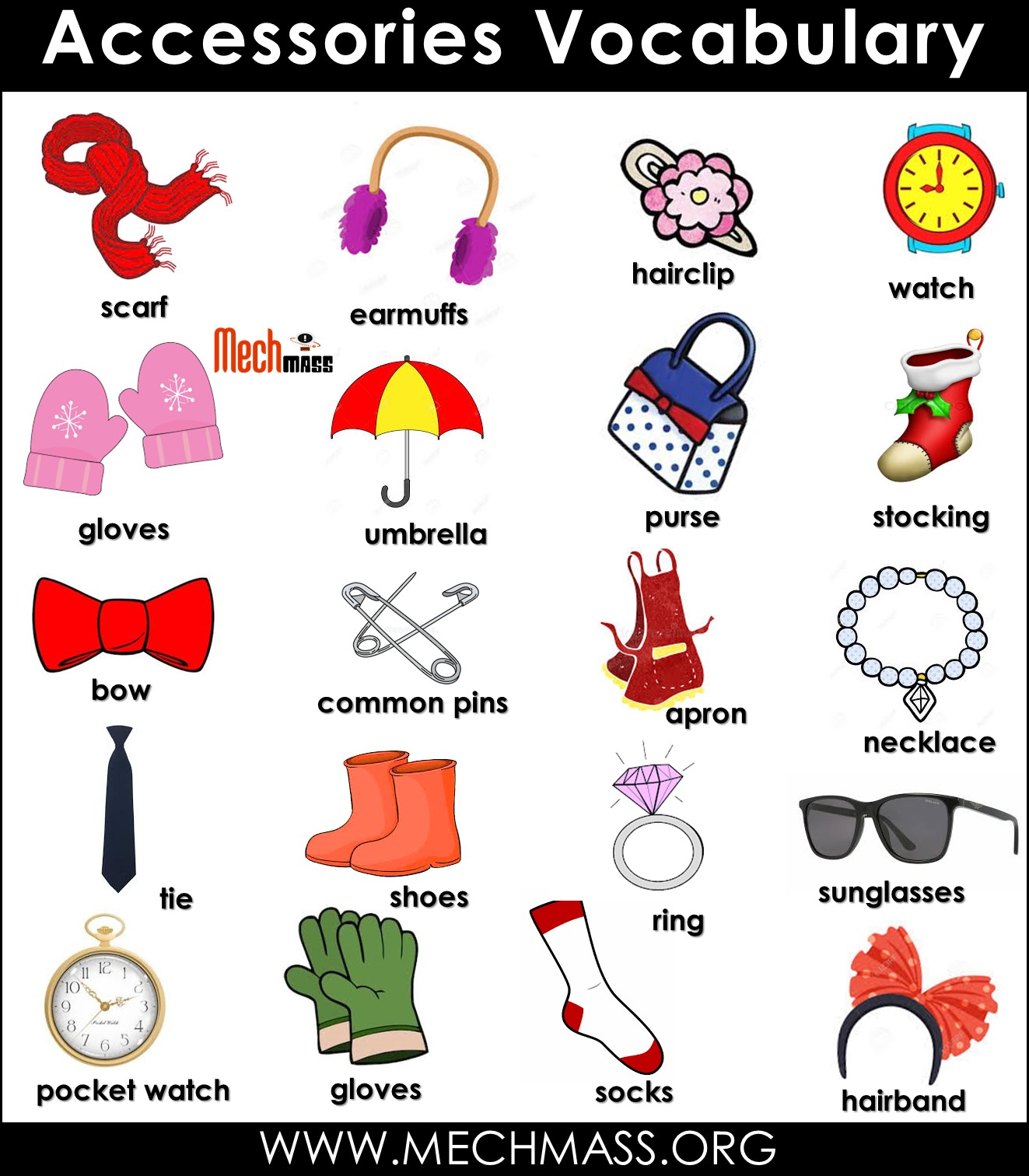 accessories vocabulary words with pictures