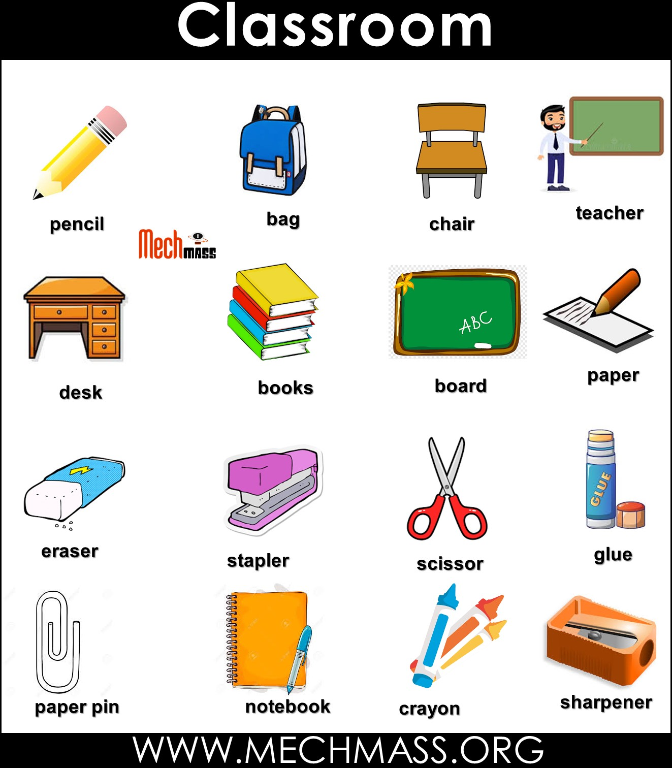 classroom vocabulary words with pictures