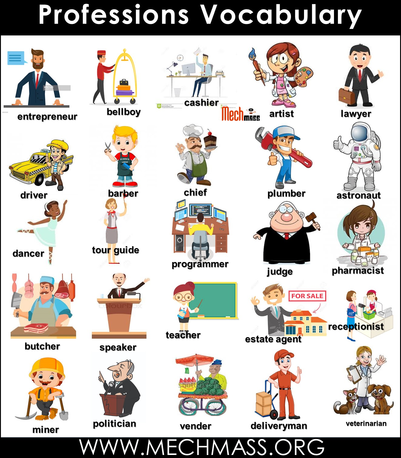 professions vocabulary words with pictures