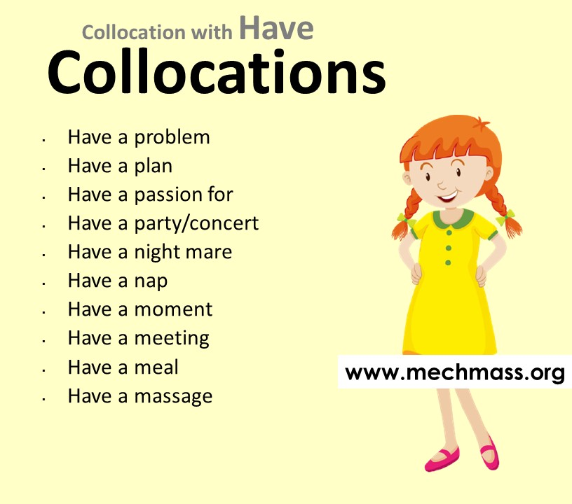 List of collocations with have