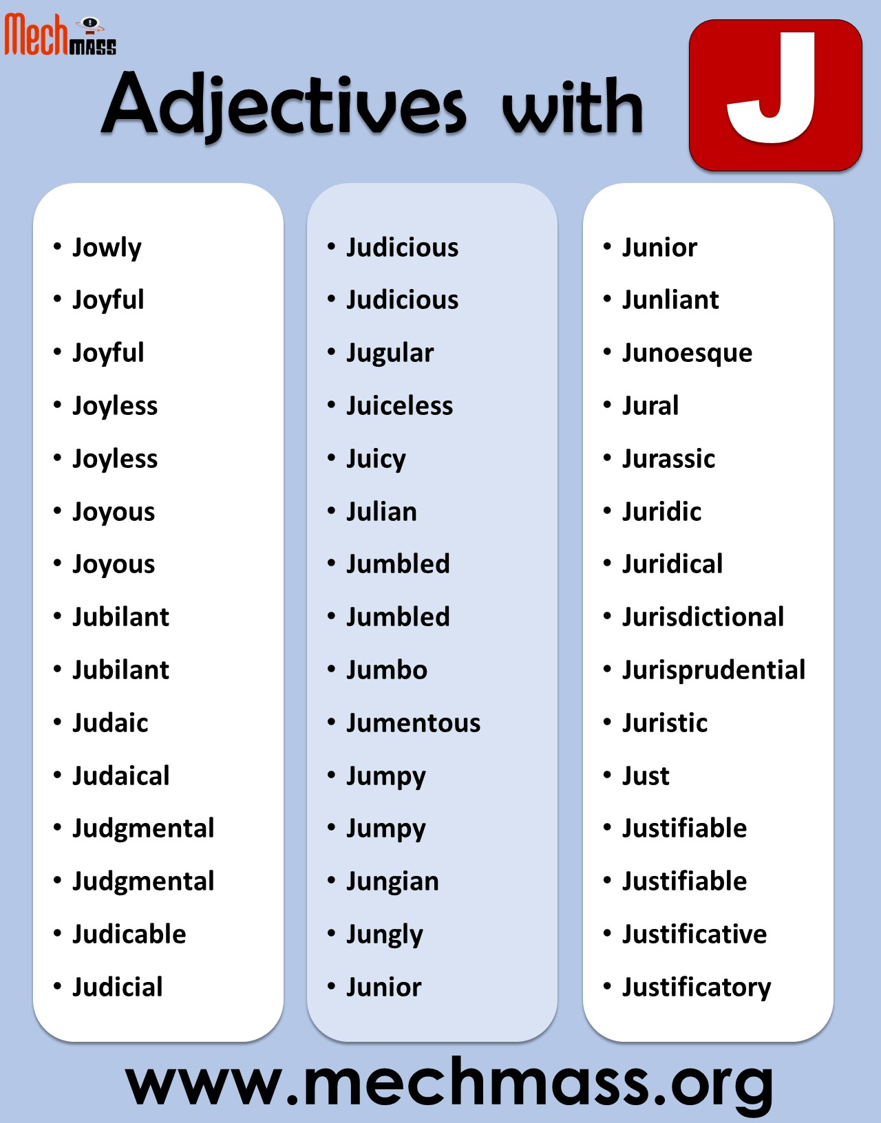Adjectives with j to describe a person