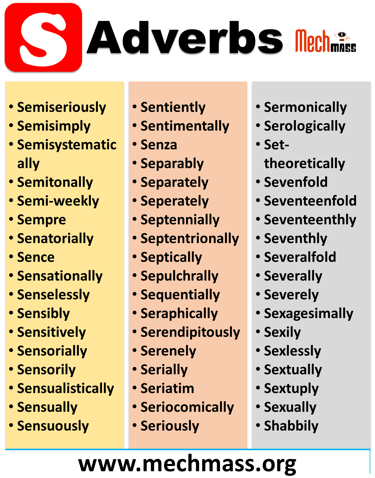 List of adverbs starting with s