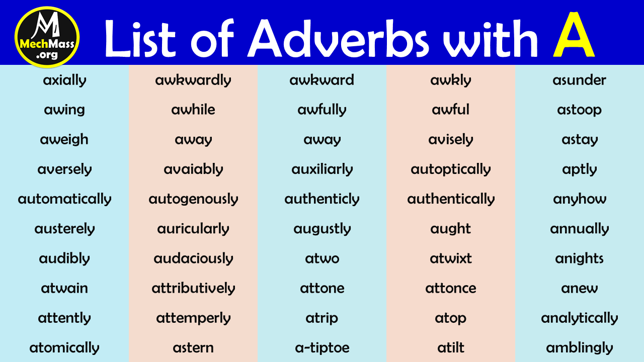 list of adverbs that starts with A