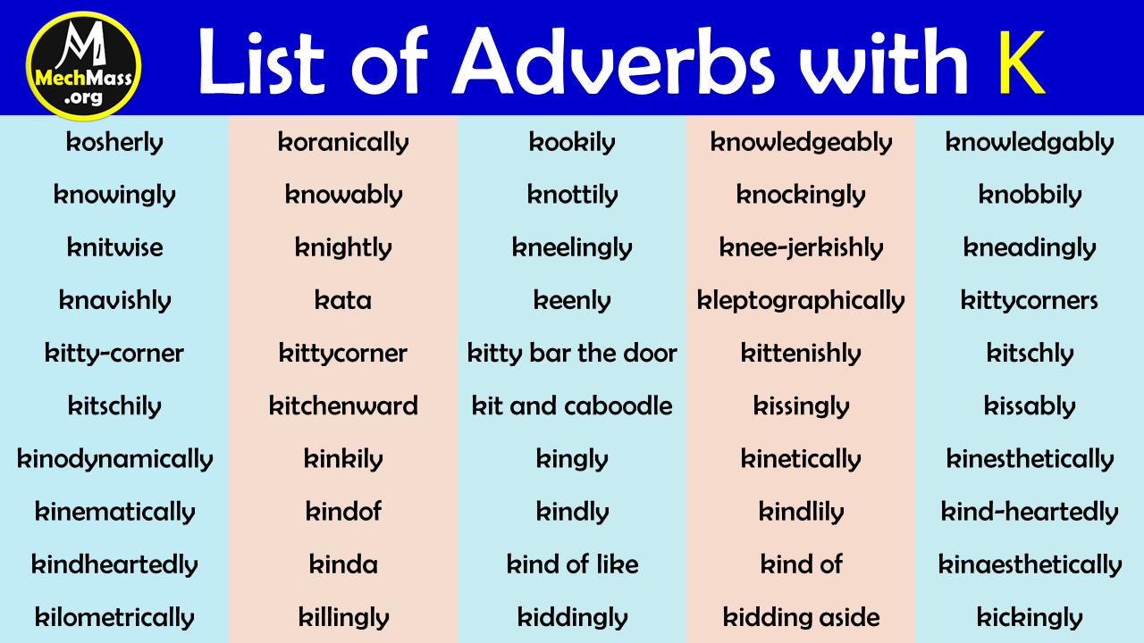 adverbs that start with k