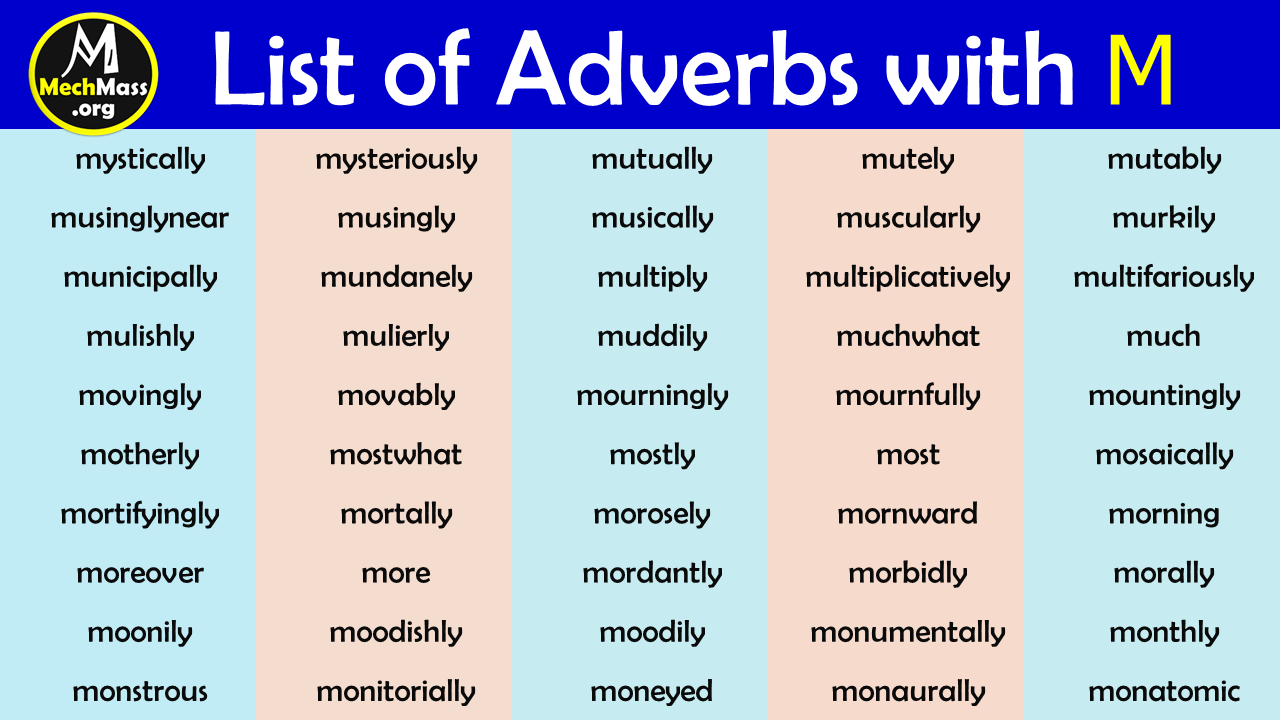 adverbs that start with m to describe a person