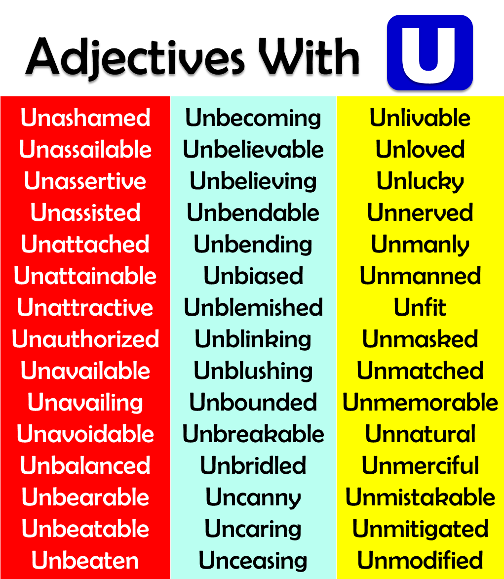 adjectives starting with u