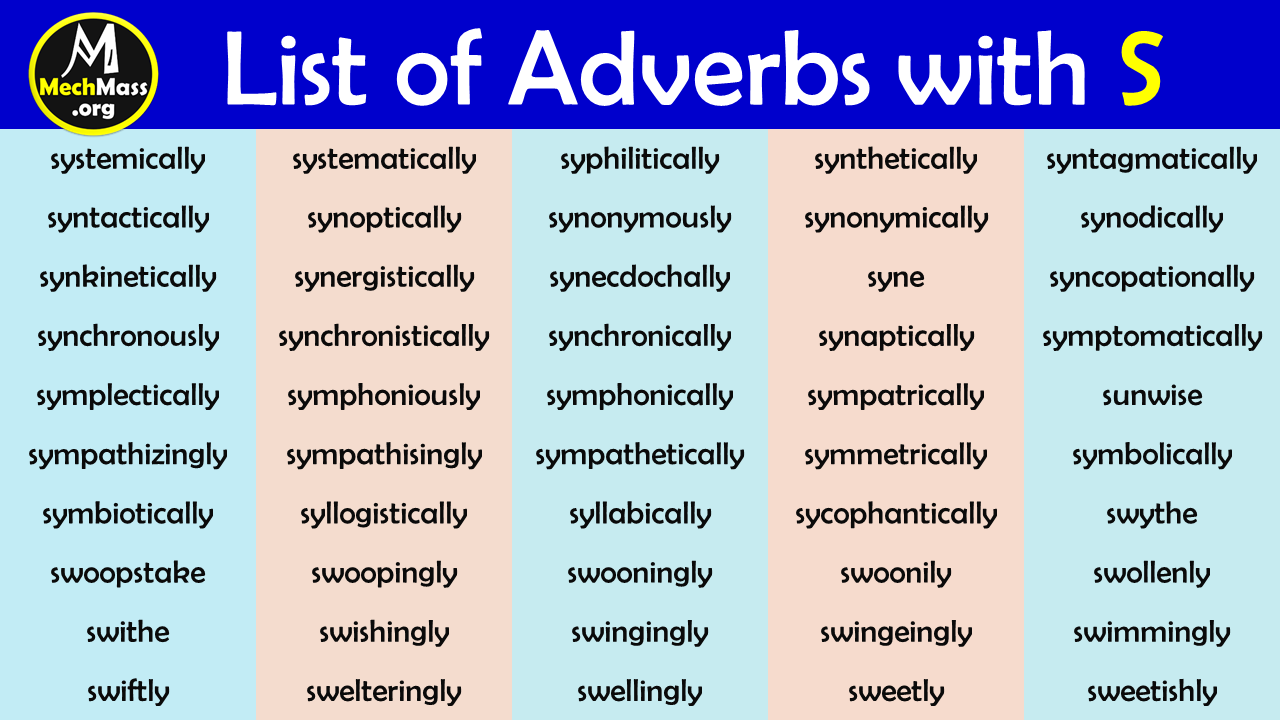 adverbs that start with s