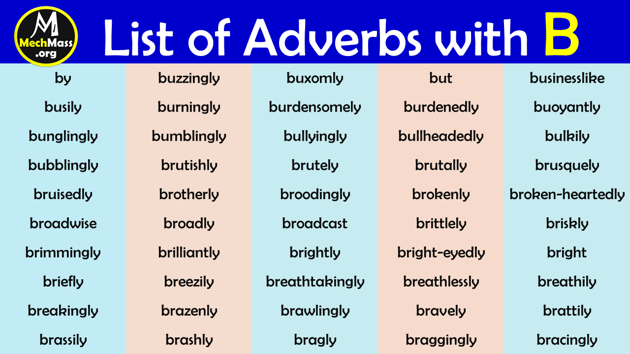 adverbs that start with b