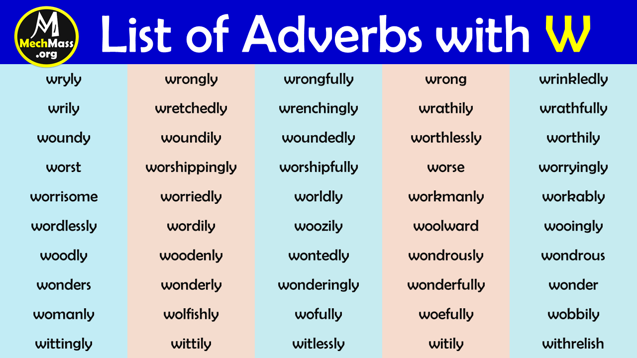adverbs starting with w