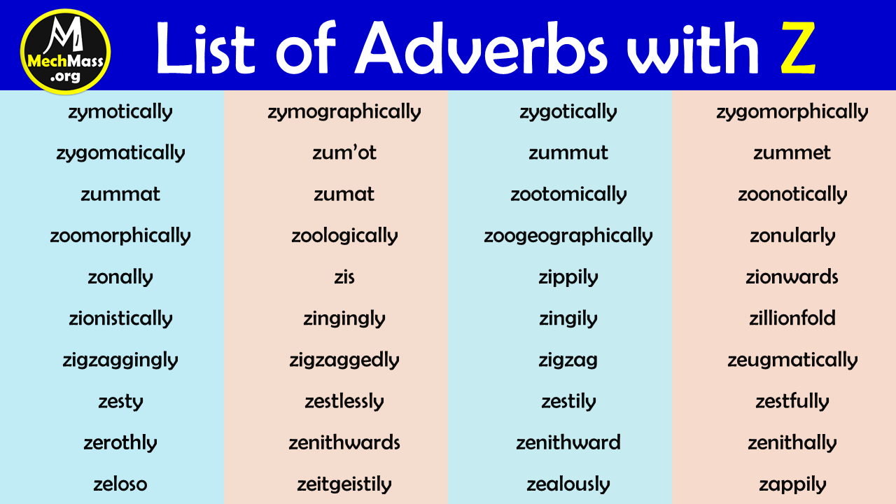 adverbs that start with z