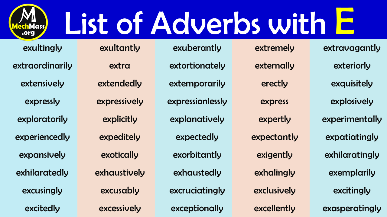 adverbs that start with e
