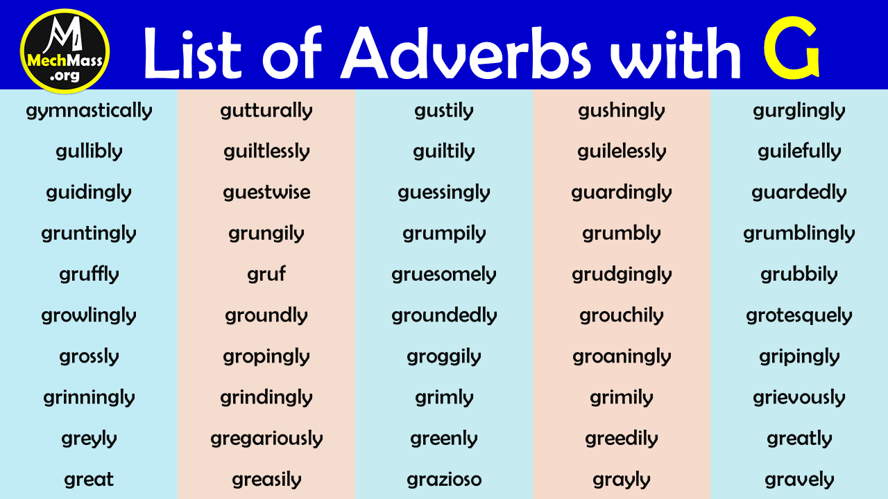 adverbs that start with g