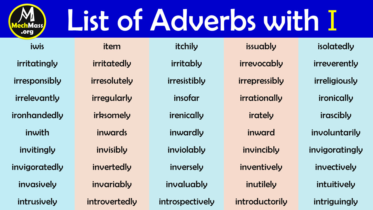 adverbs that start with i