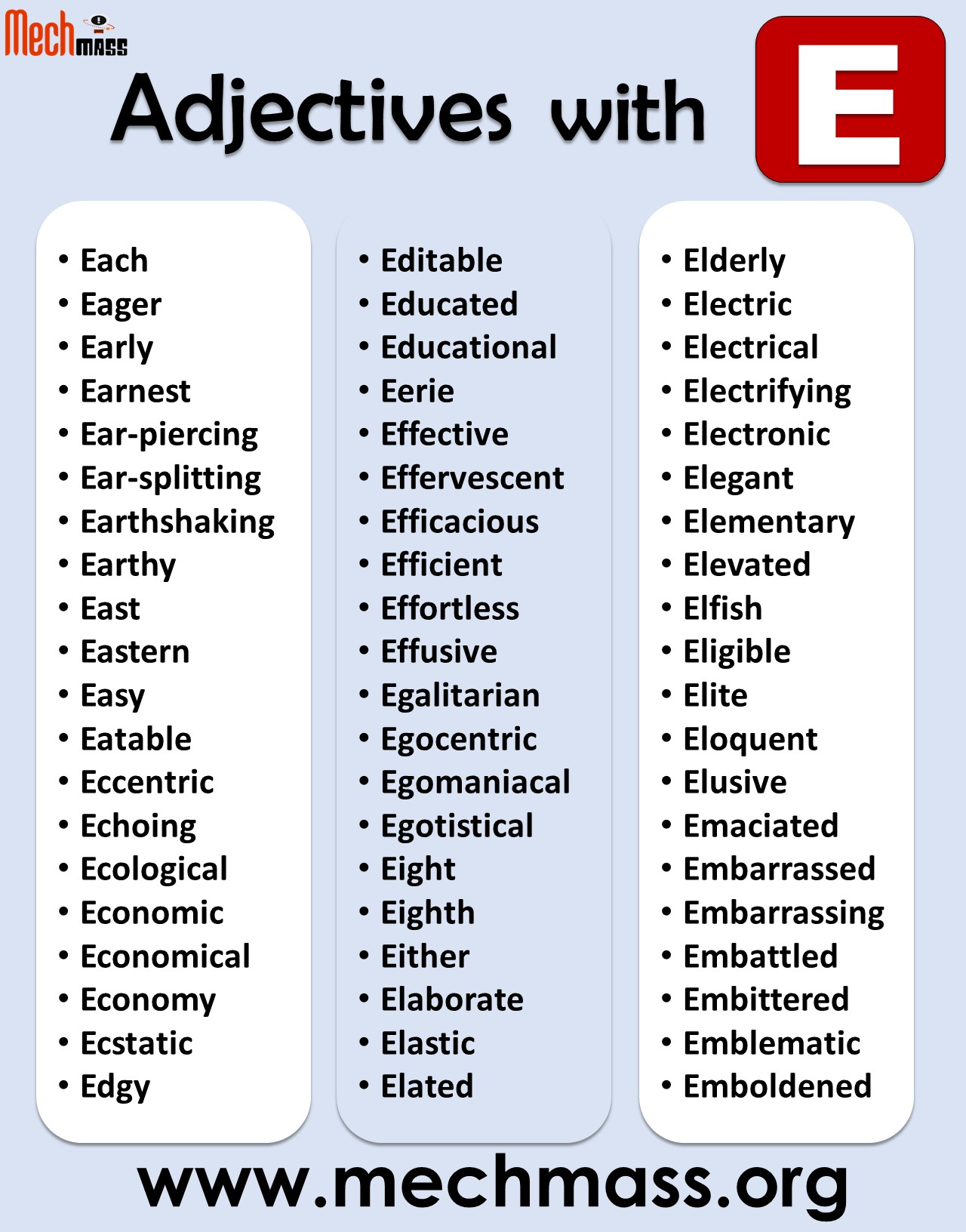 adjectives starting with e