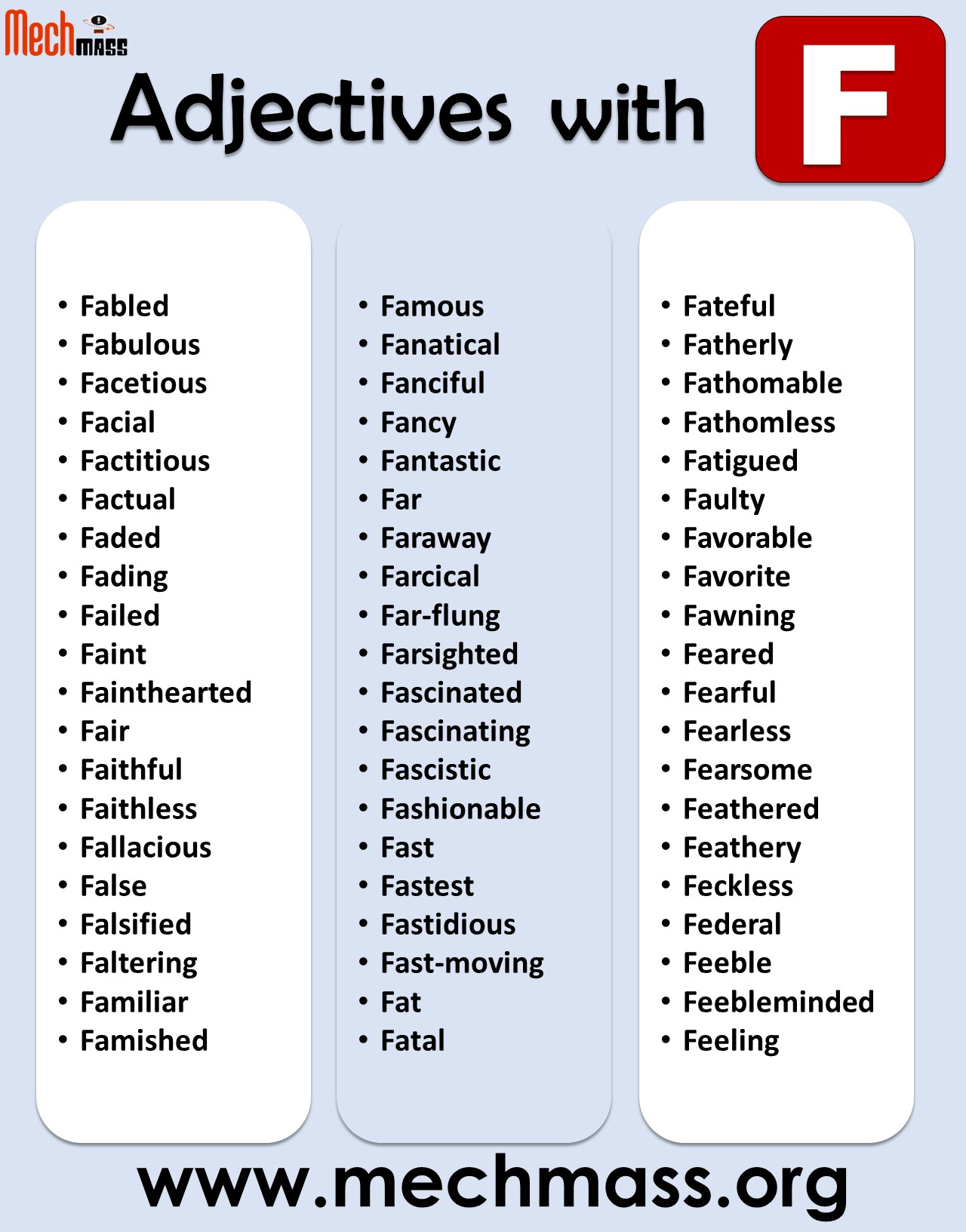 adjectives starting with f