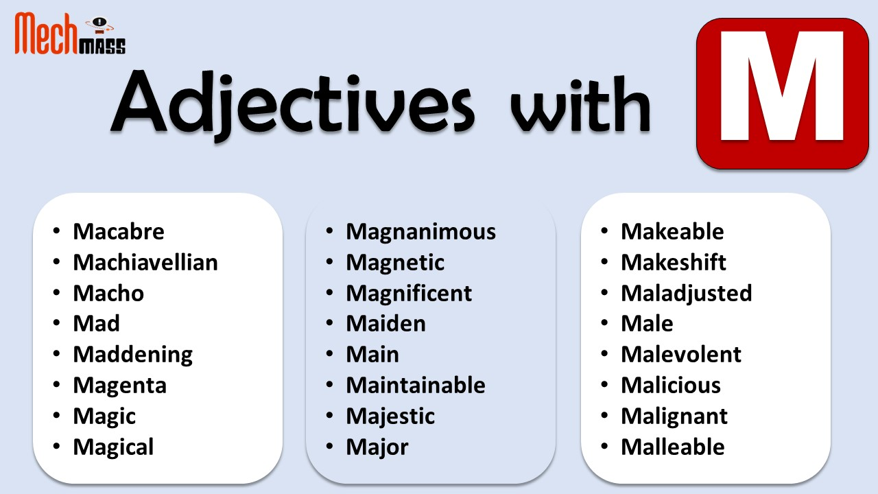 adjectives starting with m