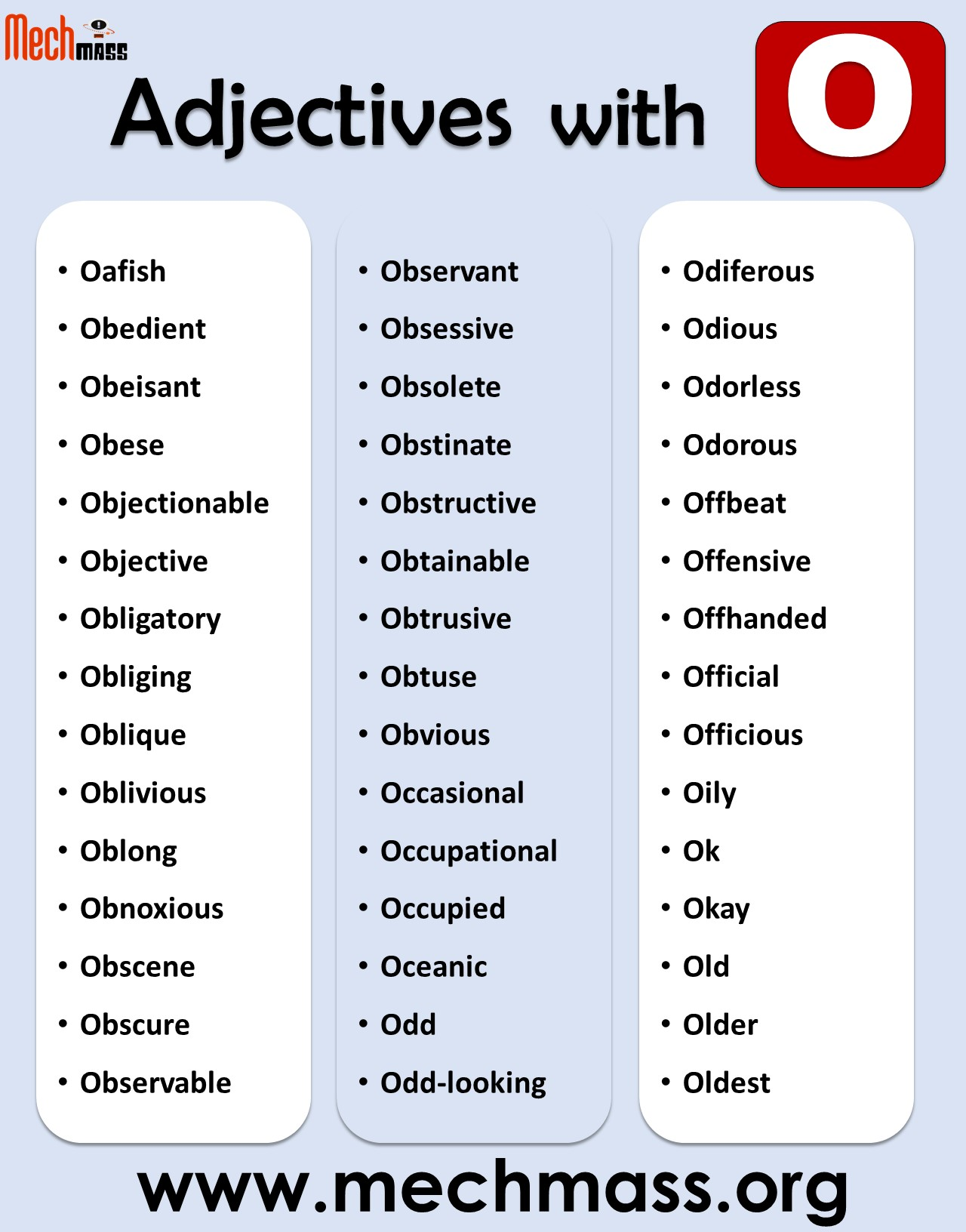 adjectives starting with o