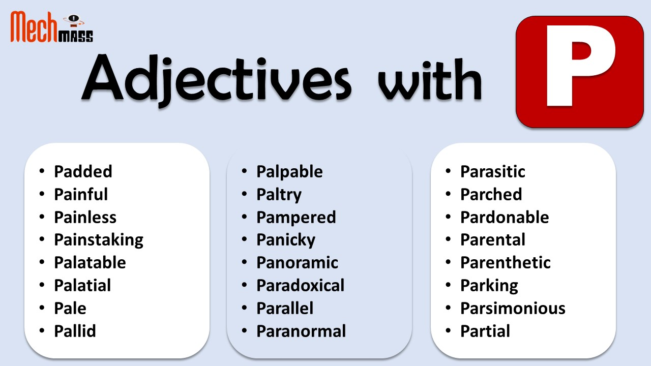 adjectives starting with p