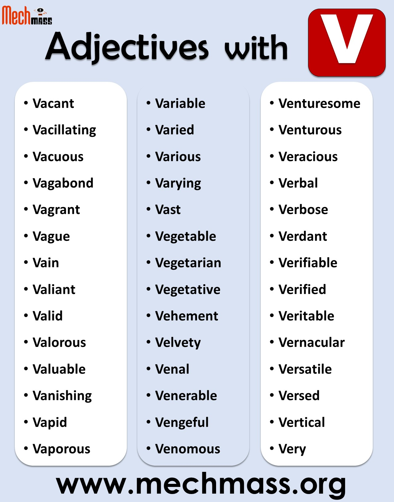 adjectives starting with v