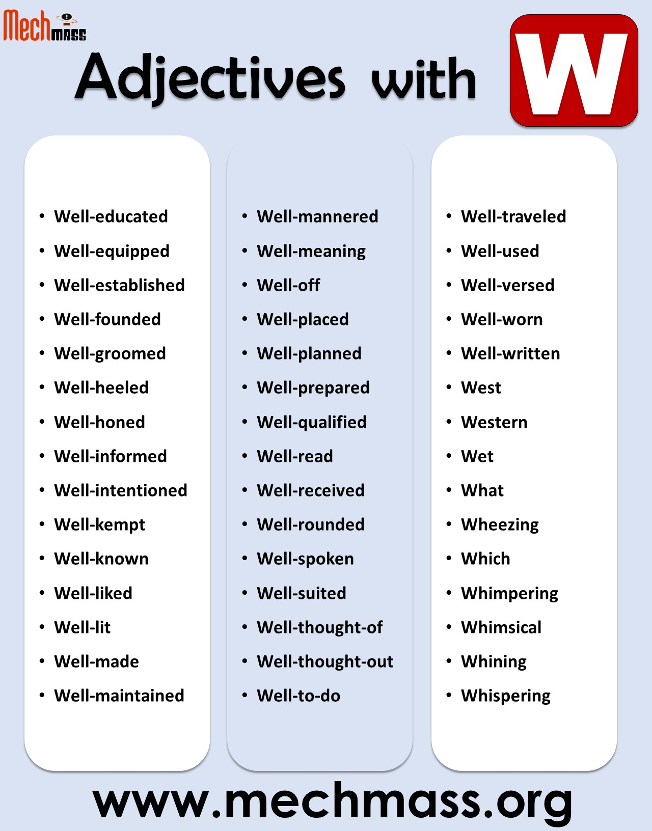 adjectives starting with w