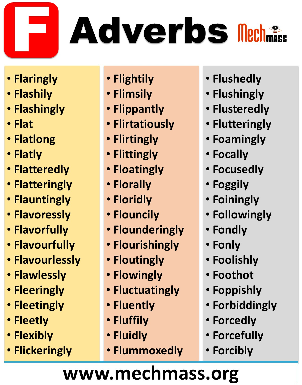 adverbs starting with f in english