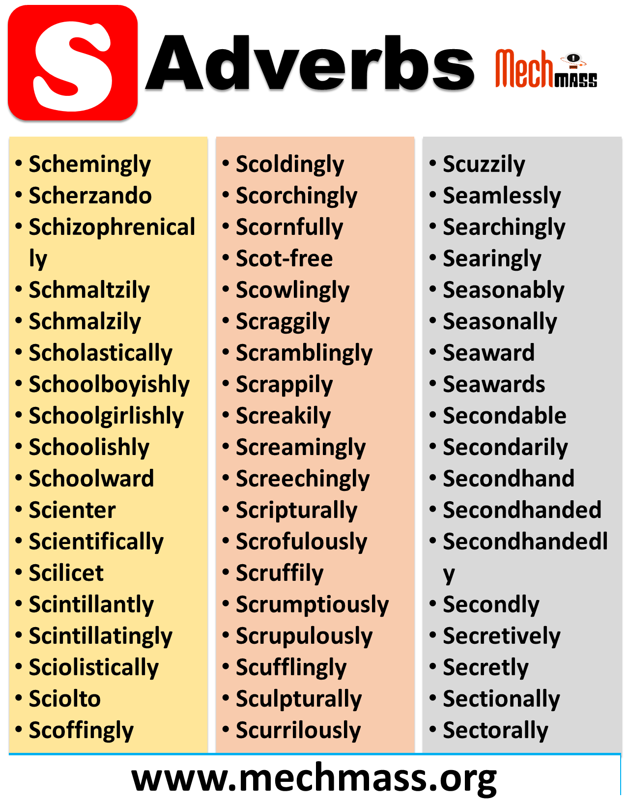 adverbs starting with s