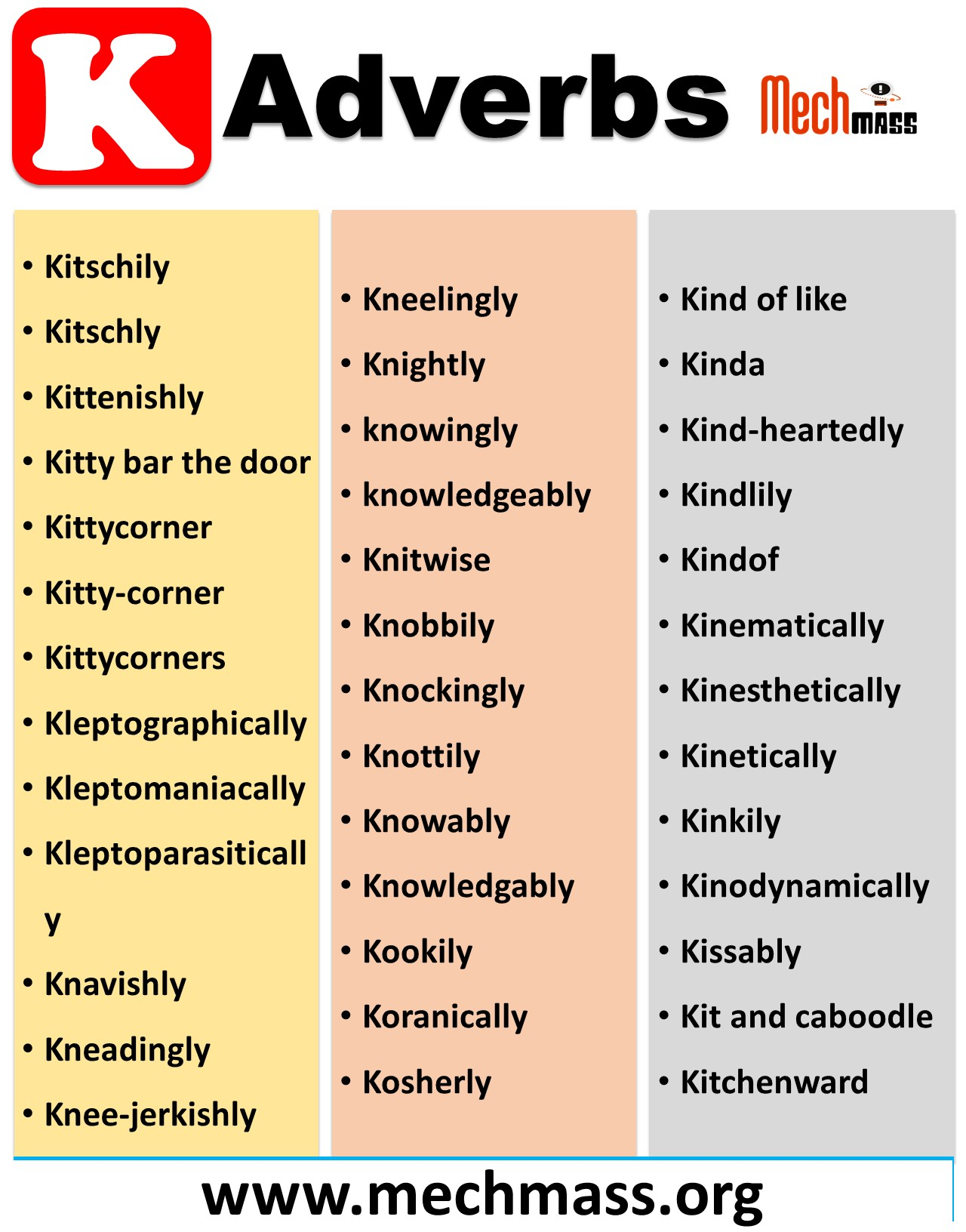 adverbs that start with k to describe a person