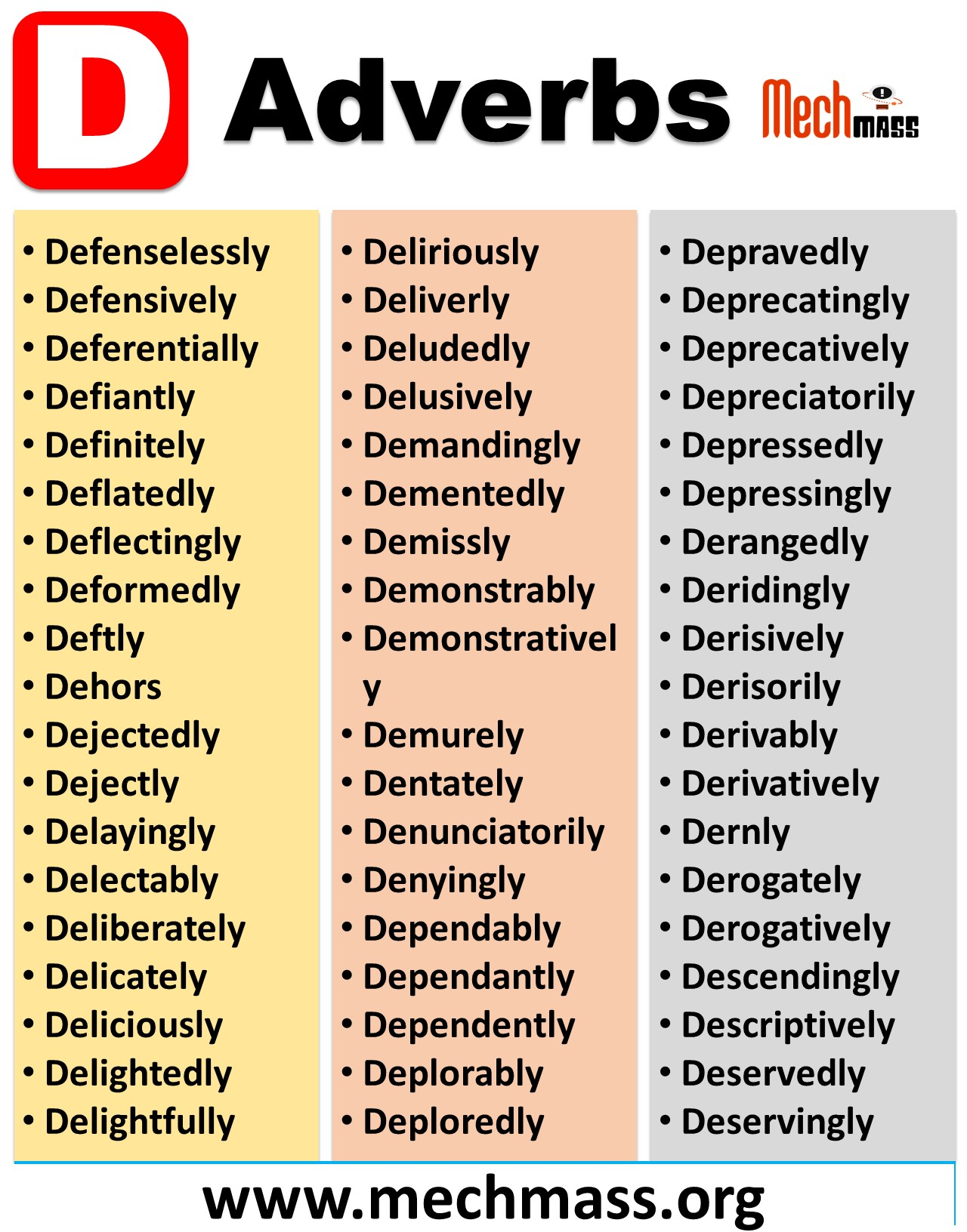 adverbs that start with letter d