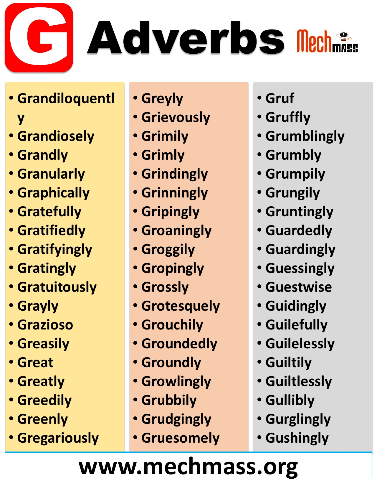 adverbs that start with letter g