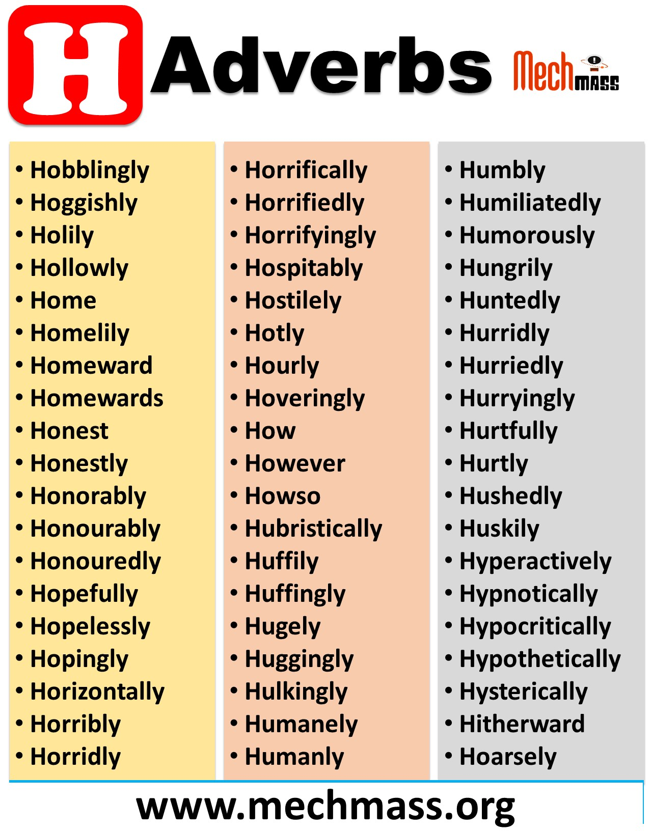 adverbs that start with letter h