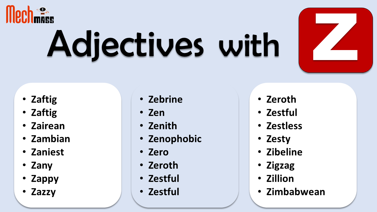 Adjectives starting with Z
