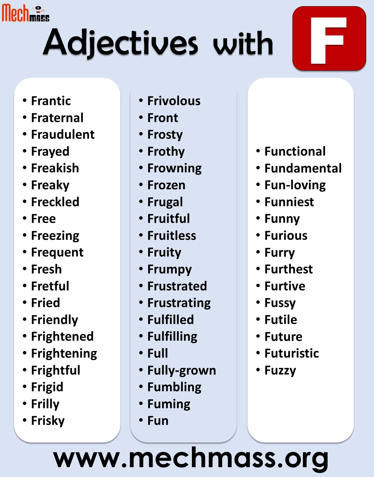 list of adjectives starting with f