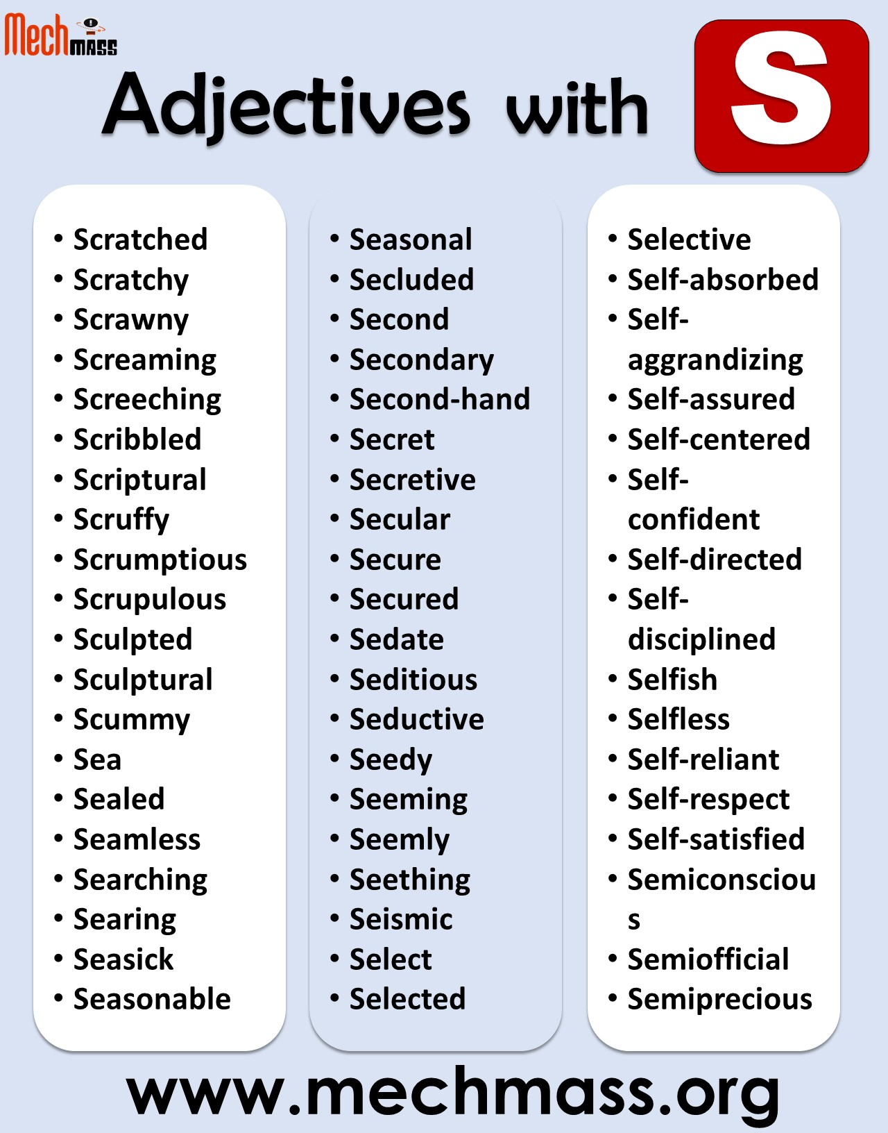 of adjectives starting with s