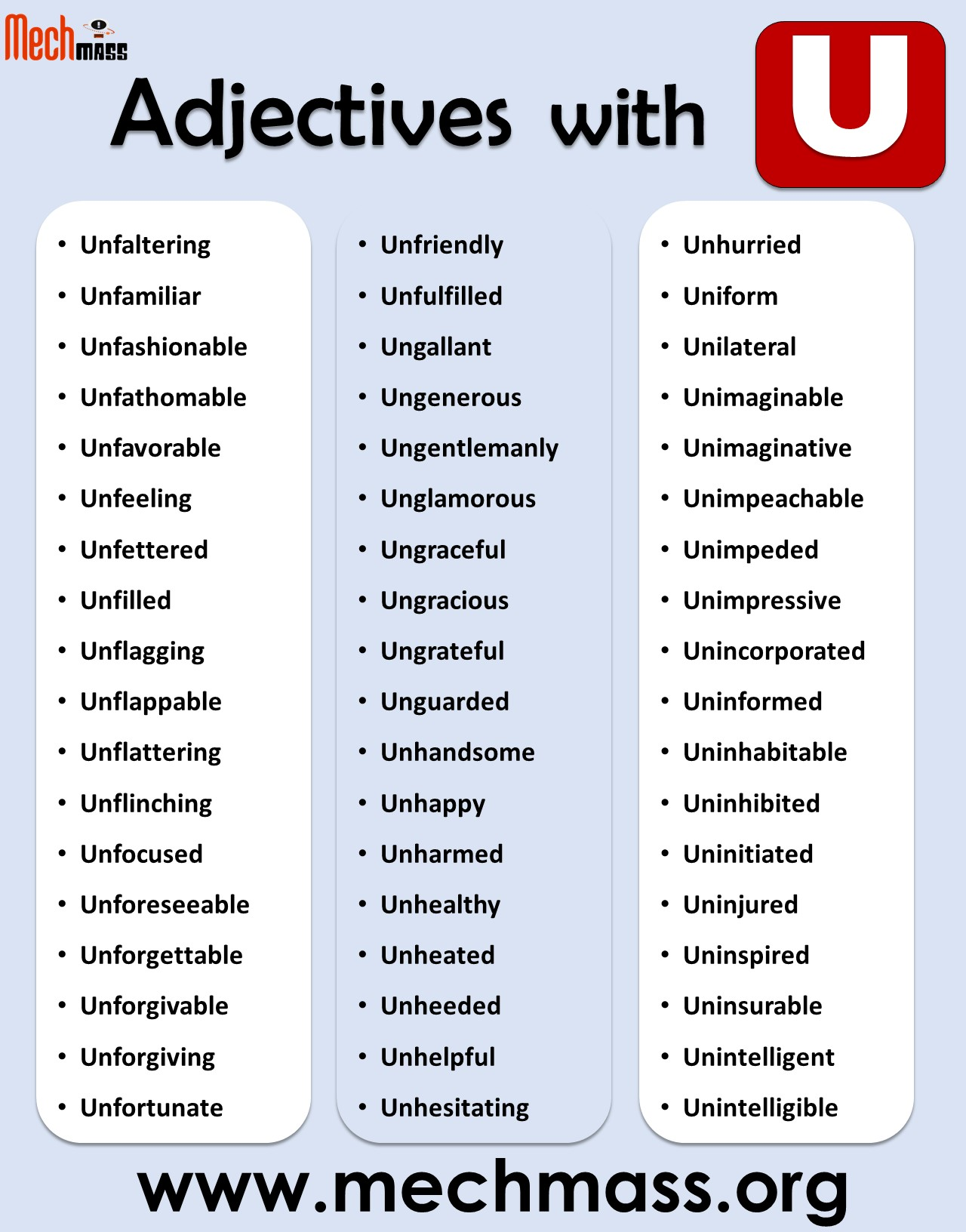 positive adjectives starting with u