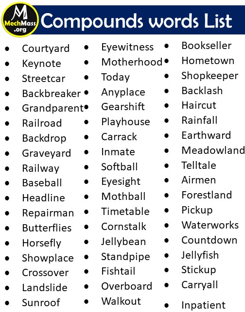 A list of Compound words (3)