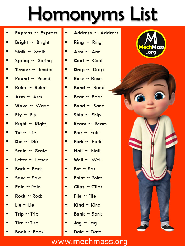 a list of homonyms in English