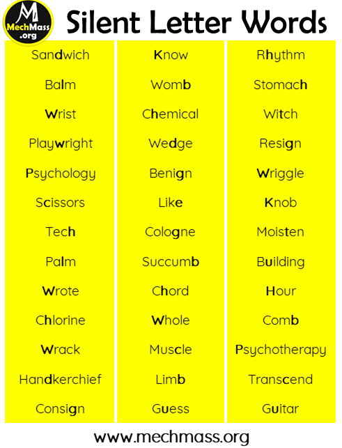 list of words with silent letters