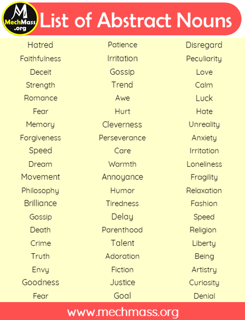 a list of abstract nouns