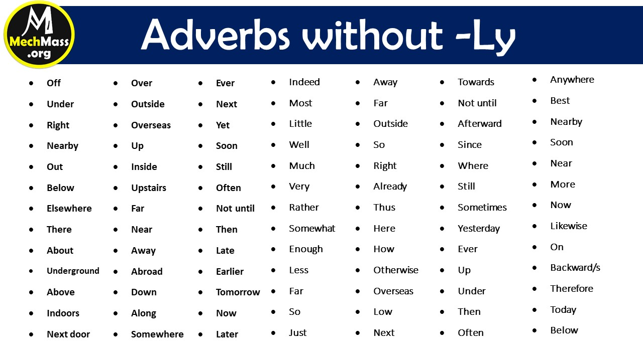 adverbs list without ly