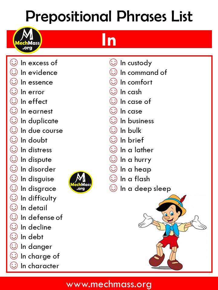 list of prepositional phrases, popular prepositional phrases list with in